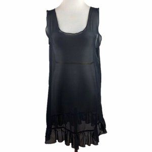 Semi Sheer Mesh Tunic Top L Large Ruffle Hem Black